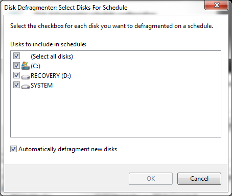 schedual window select disk